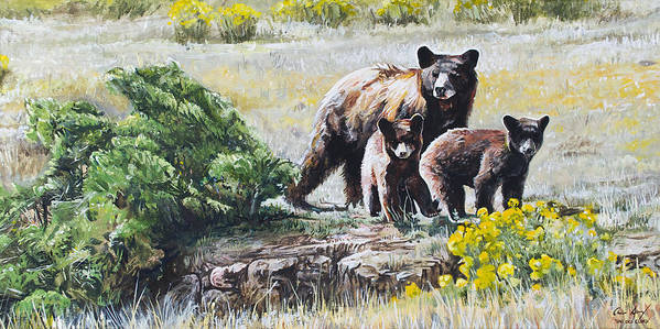 Bear Poster featuring the painting Prairie Black Bears by Aaron Spong
