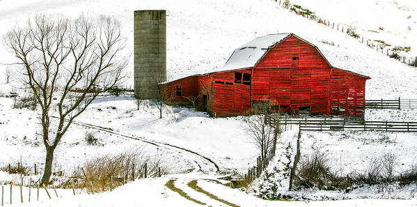 Snow Poster featuring the photograph Red Barn In Snow by John Haldane