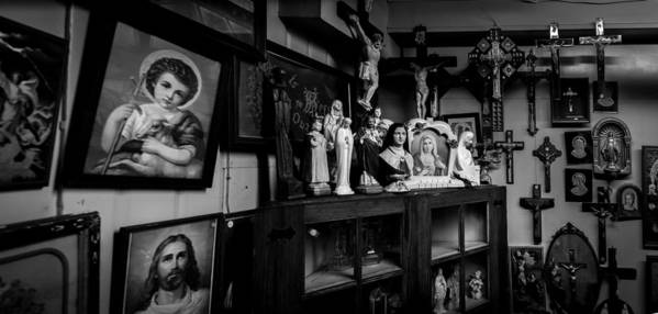Religion Poster featuring the photograph Religion And The Curio Shop by Bob Orsillo