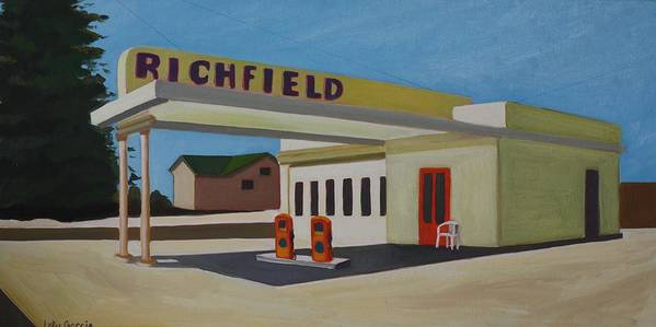 Gas Stations Poster featuring the painting Richfield Gas Station by Lety Garcia