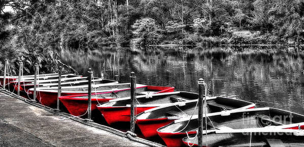 Photography Poster featuring the photograph Row Of Red Rowing Boats by Kaye Menner