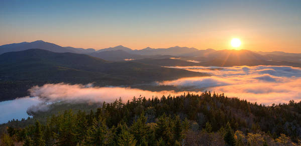 Photography Poster featuring the photograph Sunrise Over The Adirondack High Peaks by Panoramic Images