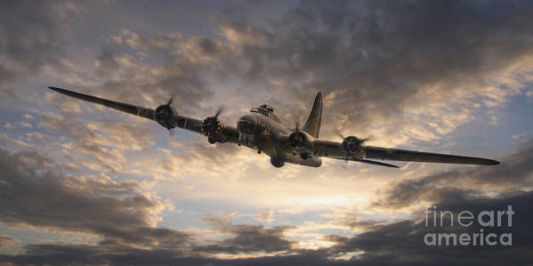 Boeing B17 Poster featuring the digital art The Flying Fortress by J Biggadike