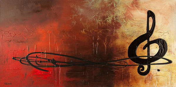 Music Abstract Art Poster featuring the painting The Pause by Carmen Guedez