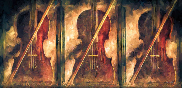 Violins Poster featuring the painting Three Violins by Bob Orsillo