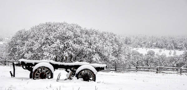 Utah Poster featuring the photograph Vintage Wagon In Snow And Fog Filled Valley by Gary Whitton