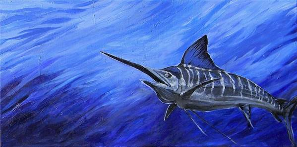 Fish Poster featuring the painting Marlin by Jenn Cunningham