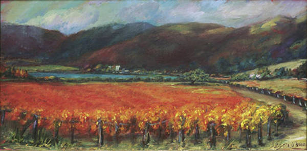 Napa Valley Poster featuring the painting Calistoga Vineyard In Napa Valley By Deirdre Shibano by Deirdre Shibano