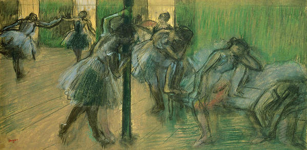 Dancers Rehearsing Poster featuring the painting Dancers Rehearsing by Edgar Degas