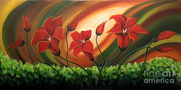 Floral Paintings Poster featuring the painting Glowing Flowers 4 by Uma Devi