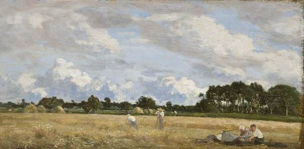France Poster featuring the painting Haymaking by Eugene Louis Boudin