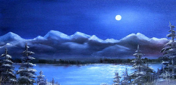 Moonlight Poster featuring the painting Moonlight Over The Chugach by Karen Copley