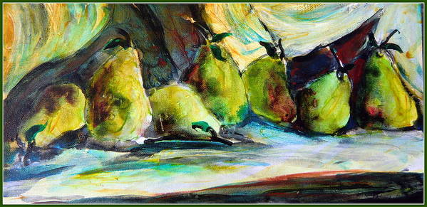 Pears Poster featuring the painting Still Life Of Pears by Mindy Newman