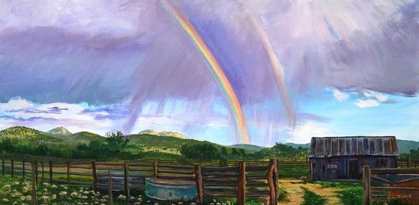 Clouds Poster featuring the painting Summer Rain At The Ranch by Rita Lackey