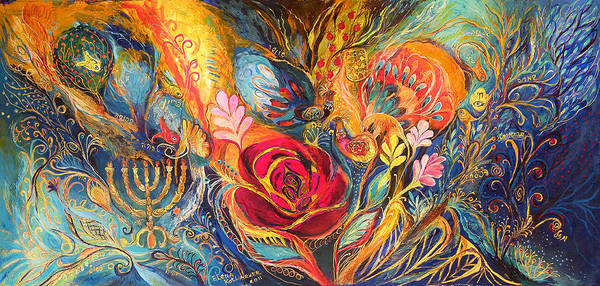 Original Poster featuring the painting The Rose Of East by Elena Kotliarker