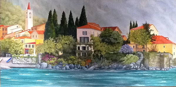 Italy Poster featuring the painting View Of Varenna by Linda Scott
