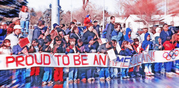 School Poster featuring the photograph School Children Holding Sign - Olympic Torch Passing by Steve Ohlsen