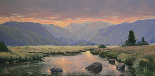 Landscape Poster featuring the painting 080818-1224 Day Slipping Into Dusk by Kenneth Shanika