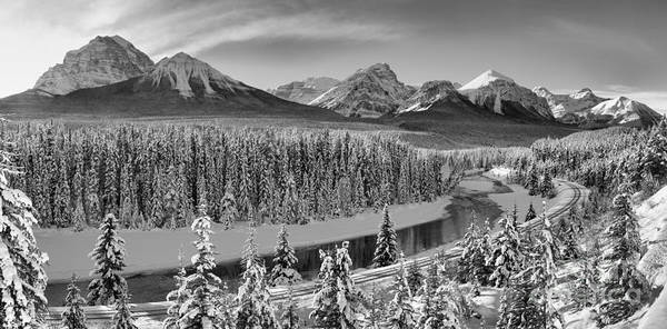 Poster featuring the photograph Banff Bow River Black And White by Adam Jewell