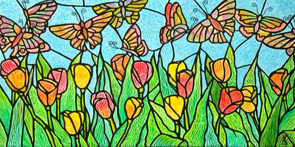Butterflies Poster featuring the painting Butterflies In The Tulip Garden 2 by Jim Harris