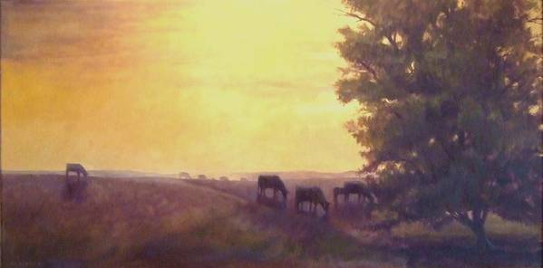 Landscape Poster featuring the painting Hillside Silhouettes by Ruth Stromswold