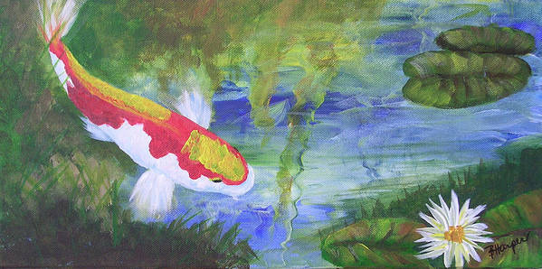 Koi Poster featuring the painting Kohaku Koi And Water Lily by Barbara Harper