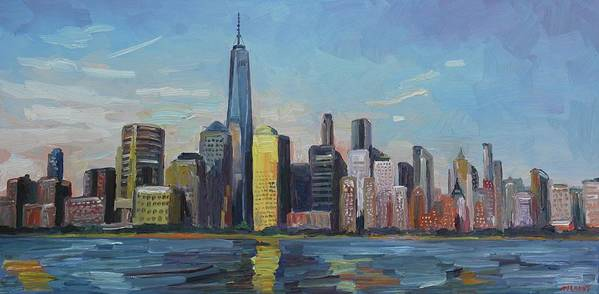 New York Poster featuring the painting New York Skyline by John Kilduff