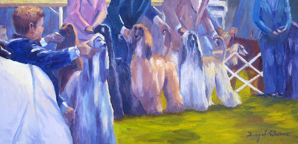 Afghan Hound Poster featuring the painting The Girls by Terry Chacon
