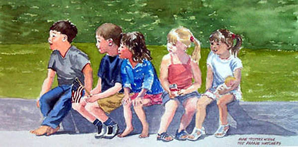 Children Poster featuring the painting The Parade Watchers by Anne Trotter Hodge