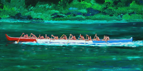 Water Paintings Poster featuring the painting war canoe races 1977 Nooksack tribe Wa by George Chacon