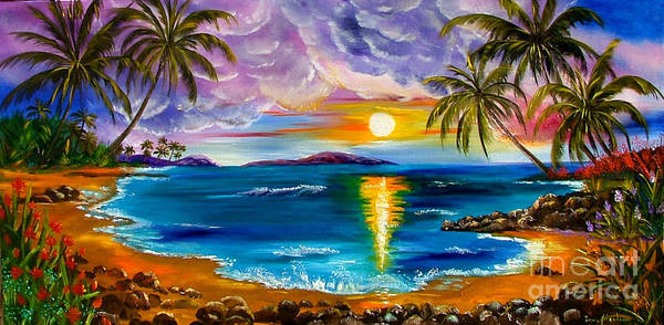 Hawaii Poster featuring the painting Tropical Sunset by Inna Montano