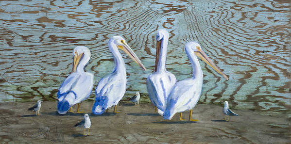 Pelicans Poster featuring the painting Around The Water Cooler by Billie Colson