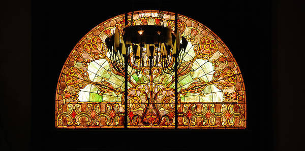 Union Station In Nashville Poster featuring the photograph Artful Stained Glass Window Union Station Hotel Nashville by Susanne Van Hulst