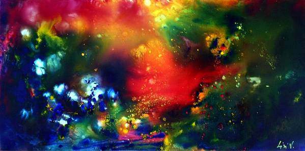 Abstract Poster featuring the painting Aurora Borealis by Luiza Vizoli