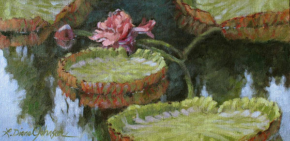 Lily Pond Poster featuring the painting Autumn Blossom by L Diane Johnson