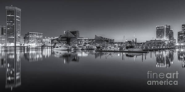 Clarence Holmes Poster featuring the photograph Baltimore Inner Harbor Skyline At Dawn Panoramic Iv by Clarence Holmes