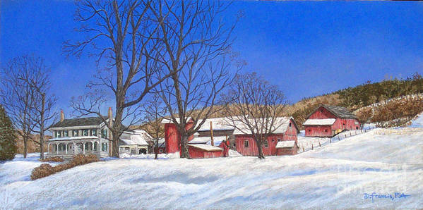 Landscape Poster featuring the painting Batteases Farm In Winter by David Francis