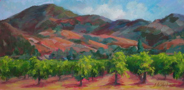 Calistoga Poster featuring the painting Calistoga Vineyards by Deirdre Shibano