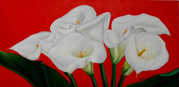 Flowers Poster featuring the painting Calla Lillys by Elsa Gallegos