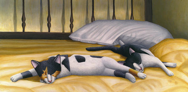 Calico Cat Poster featuring the painting Cats Sleeping On Big Bed by Carol Wilson