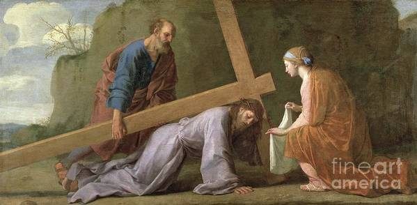 Christ Poster featuring the painting Christ Carrying The Cross by Eustache Le Sueur