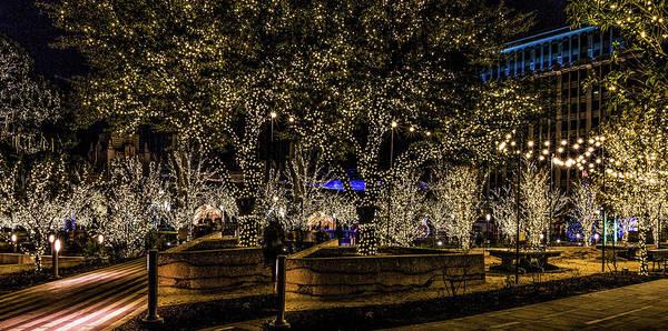 San Jacinto Plaza Poster featuring the photograph Christmas Lights by Subhadra Burugula