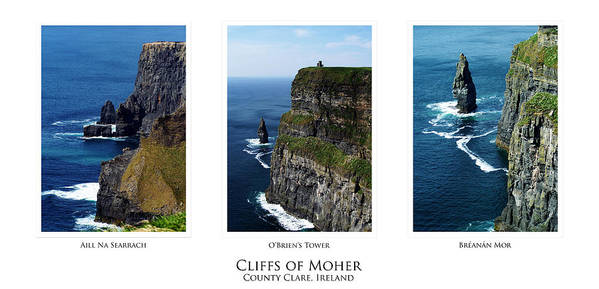 Irish Poster featuring the photograph Cliffs Of Moher Ireland Triptych by Teresa Mucha