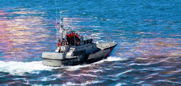 Coast Guard Poster featuring the photograph Coast Guard Out To Sea by Aaron Berg