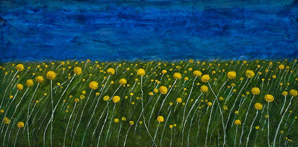 Billybuttons Poster featuring the painting Craspedias by Julia Collard
