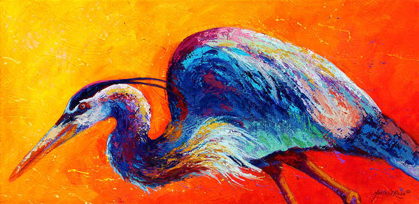 Heron Poster featuring the painting Daddy Long Legs - Great Blue Heron by Marion Rose