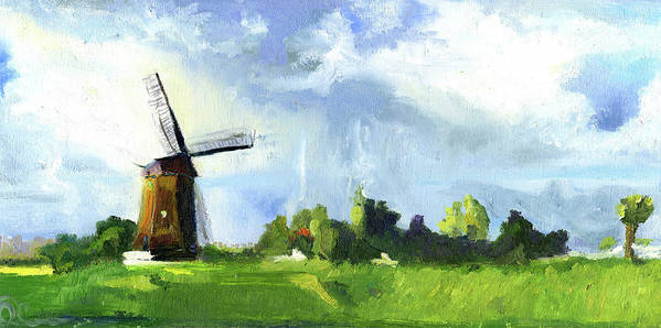 Netherlands Poster featuring the painting Dutch Landscape by Lelia Sorokina