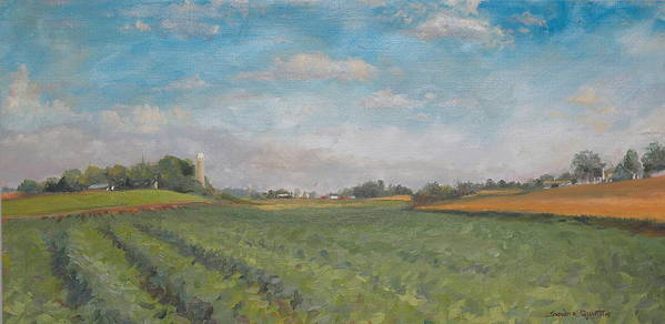 Plein Aire Poster featuring the painting Farms And Fields by Sandra Quintus
