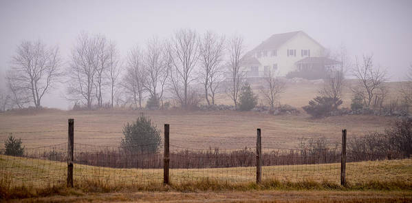 Fence Poster featuring the photograph Fence Field And Fog by Diane Moore