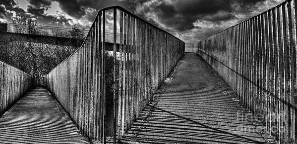 Footbridge Poster featuring the digital art Footbridge Railings by Nigel Bangert